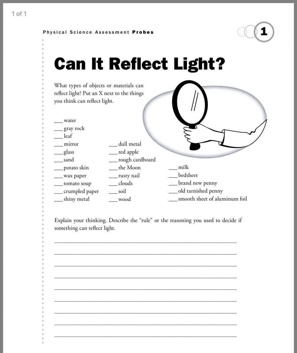 1st Grade Science Worksheets   Light science [ 1151 x 970 Pixel ]