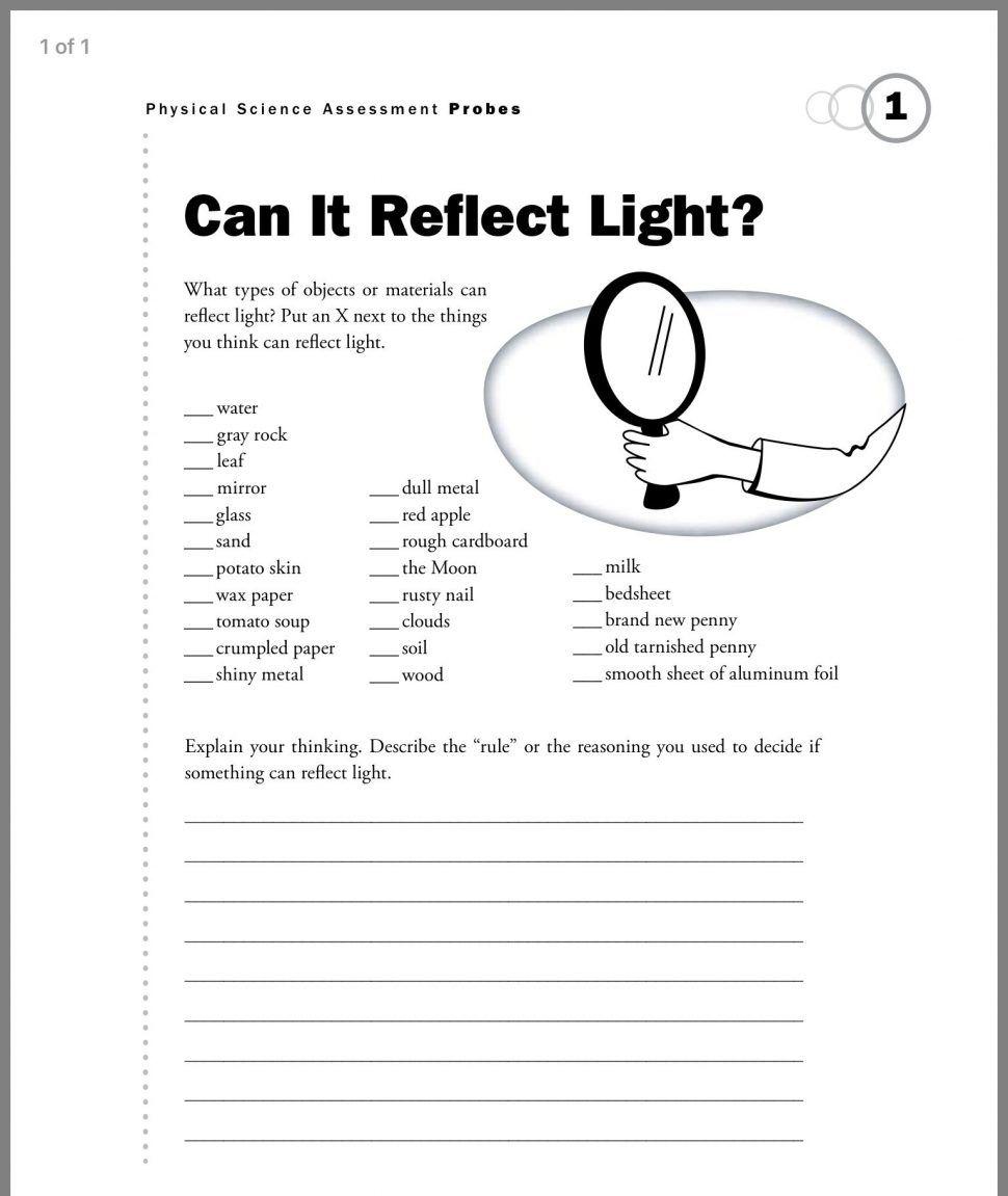 hight resolution of 1st Grade Science Worksheets   Light science