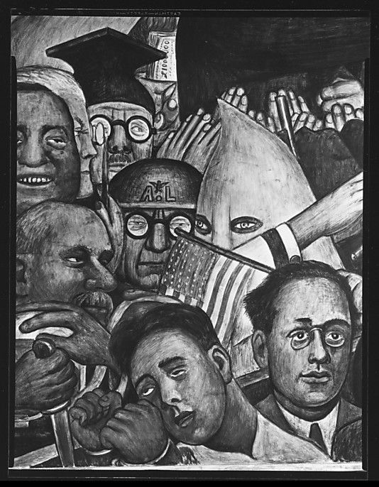 Walker evans detail of mussolini panel of diego for Diego rivera mural new york