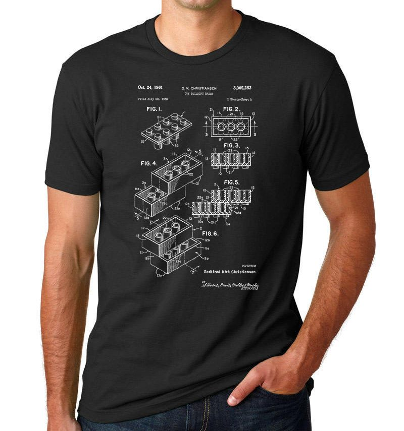 Lego Building Block Patent T Shirt PP114 by PatentPrints on Etsy https://www.etsy.com/listing/207993921/lego-building-block-patent-t-shirt-pp114