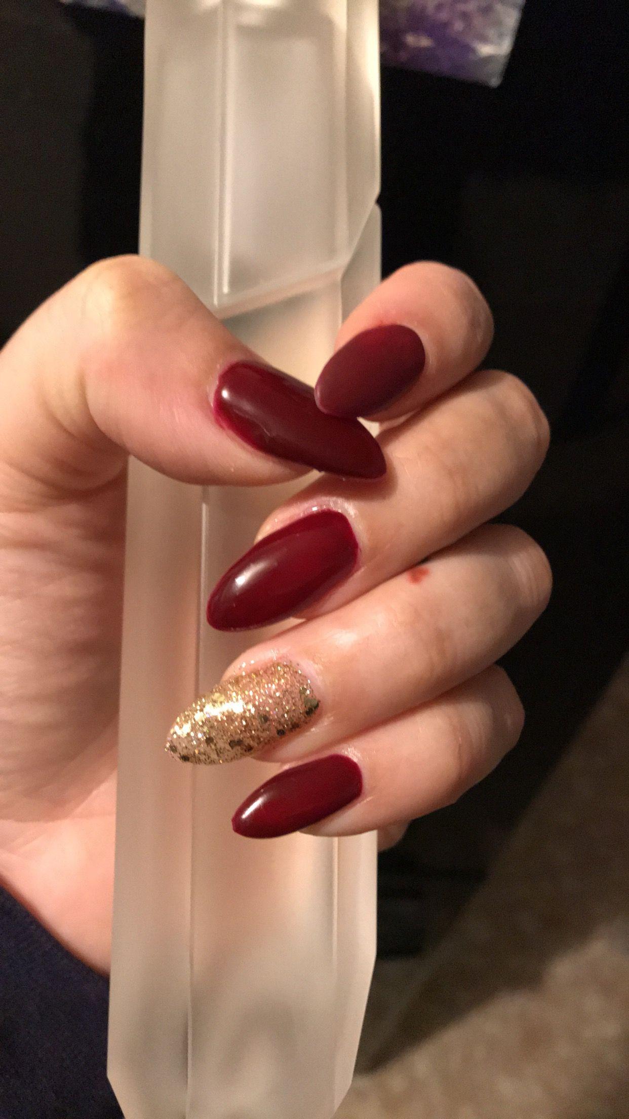 Burgundy Matte Gold Almond Shape Acrylic Nails Trendy Nails Burgundy Nails Nail Colors
