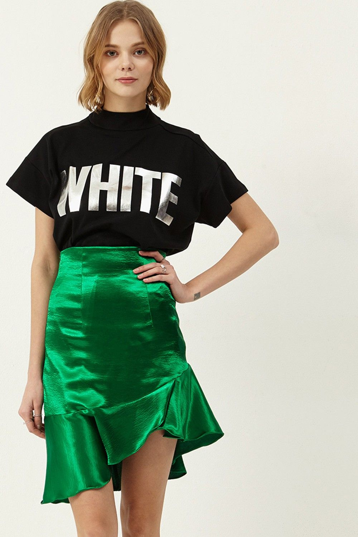 Isabella Satin Wrap Skirt  >>Discover the latest fashion trends online at storets.com #wrapskirt #satinskirt #greenskirt