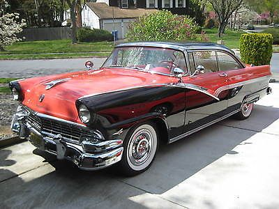1956 Ford Fairlane Victoria 2 Door Black Fiesta Red 312 Thunderbird Ford Fairlane Fairlane Ford Classic Cars