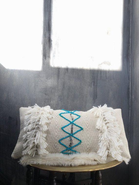 Moroccan Wedding Blanket Lumbar Pillowcase | Turquoise | Pillow | Boho Pillow | Sequins | Tribal | Handira | Cotton | Berber