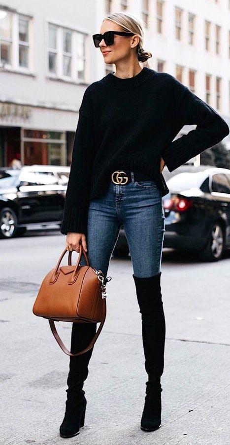 Photo of # invierno # trajes gafas de sol negras, suéter negro, cinturón negro de gucci …