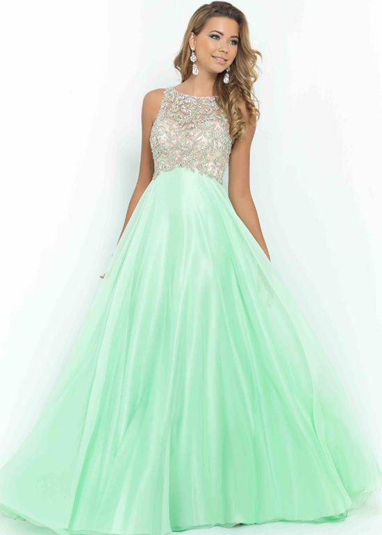 A Line Long Light Green Open Back Beaded High Neck Prom Dress ...
