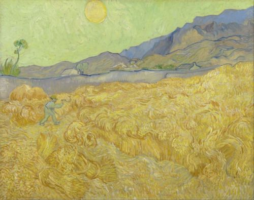 Wheatfield with a Reaper, Vincent Van Gogh - http://wp.me/p6qjkV-f0Q  #Art
