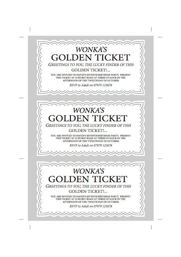 Willy Wonka\'s Golden Ticket and Wonka Bar Wrapper free children\'s ...