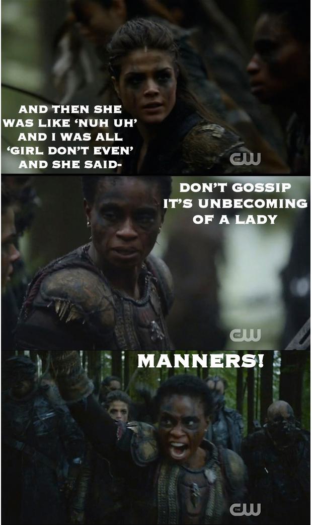 MANNERS! Hahhhaha The 100 Recap Season 2 Episode 14