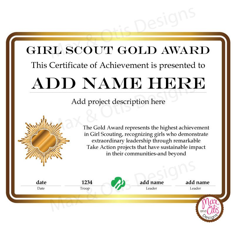 Girl Scout Cadette Printable Gold Award Certificate Editable Pdf
