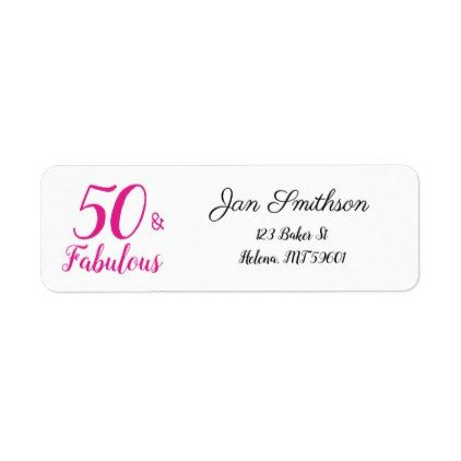 50 and fabulous 50th birthday return address label return address