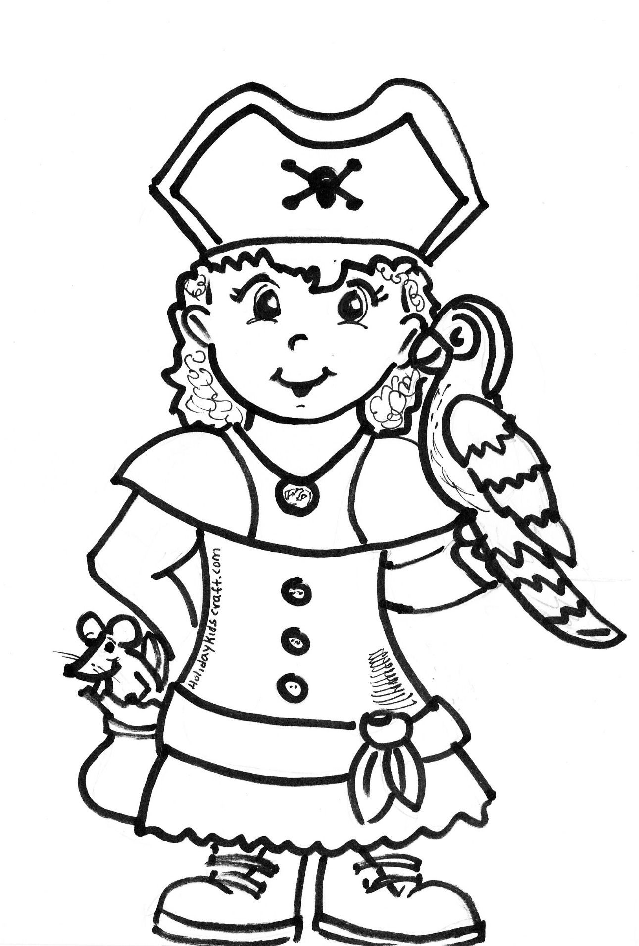 Pirate colouring pages to print - Girl Pirate Coloring Page
