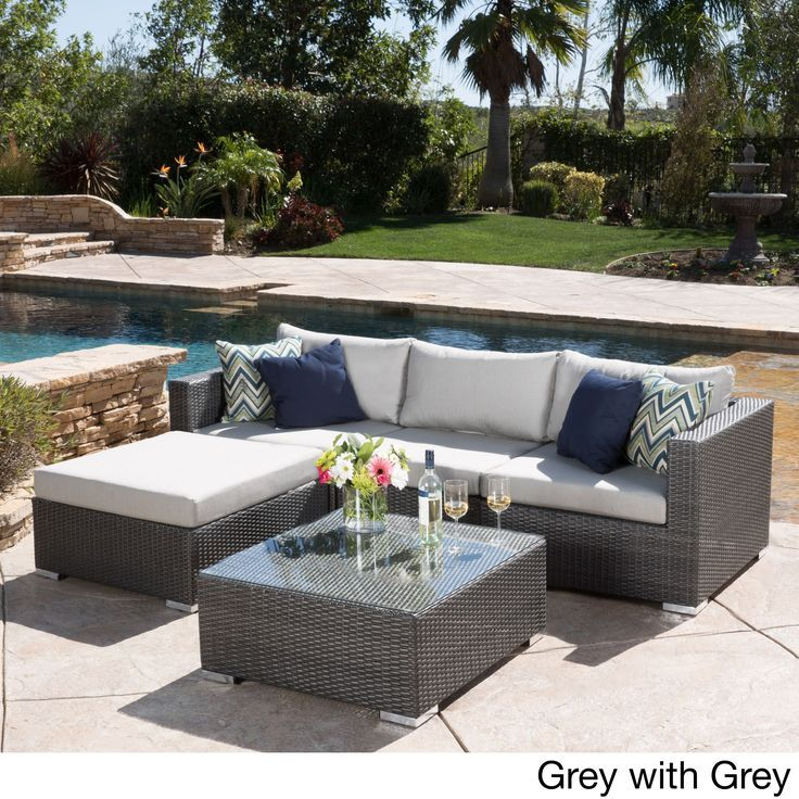 Santa Rosa Outdoor 5 Piece Wicker Seating Sectional Set With