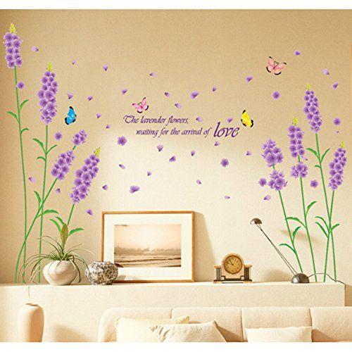 Purple Lavenders Flower Butterflies English Letters Wall Decal PVC ...