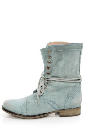 Steve Madden Troopa Blue Leather Lace