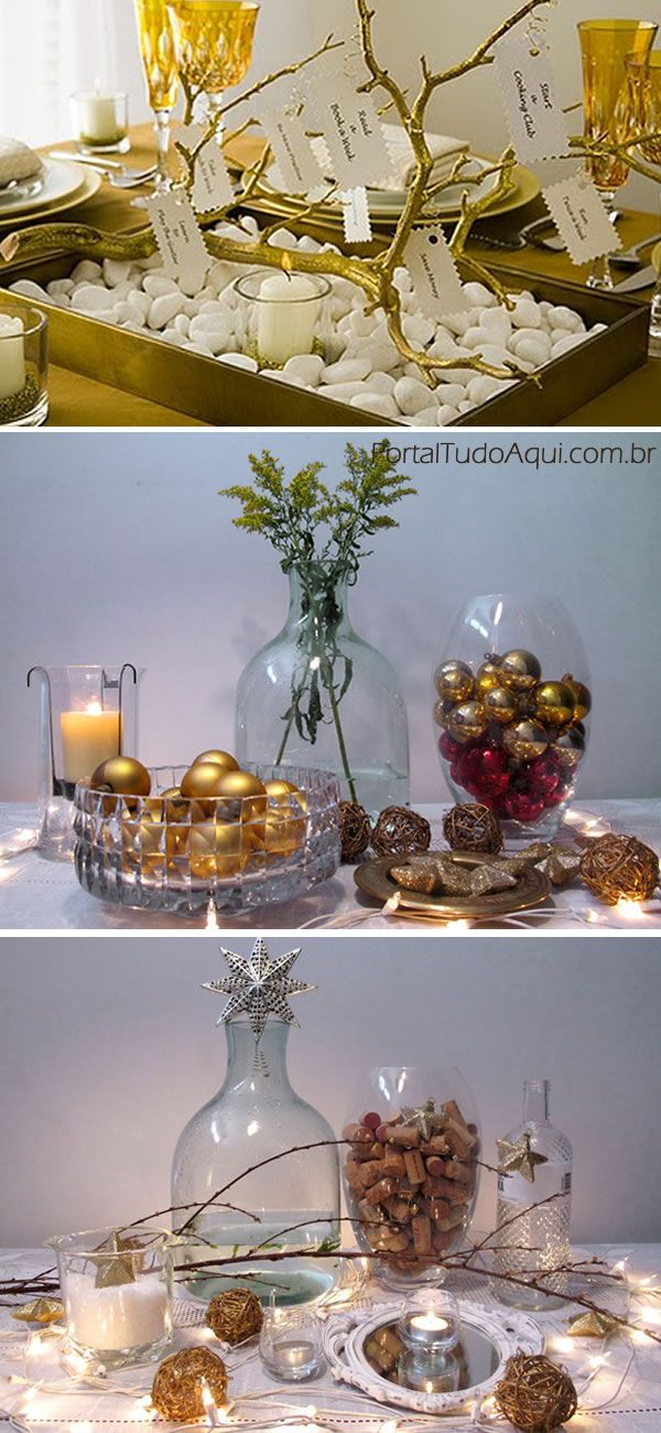 Decoraç u00e3o de mesas para o Réveillon Mesas Christmas decorations, Table decorations e Home Decor -> Decoração Com Frutas Para O Ano Novo