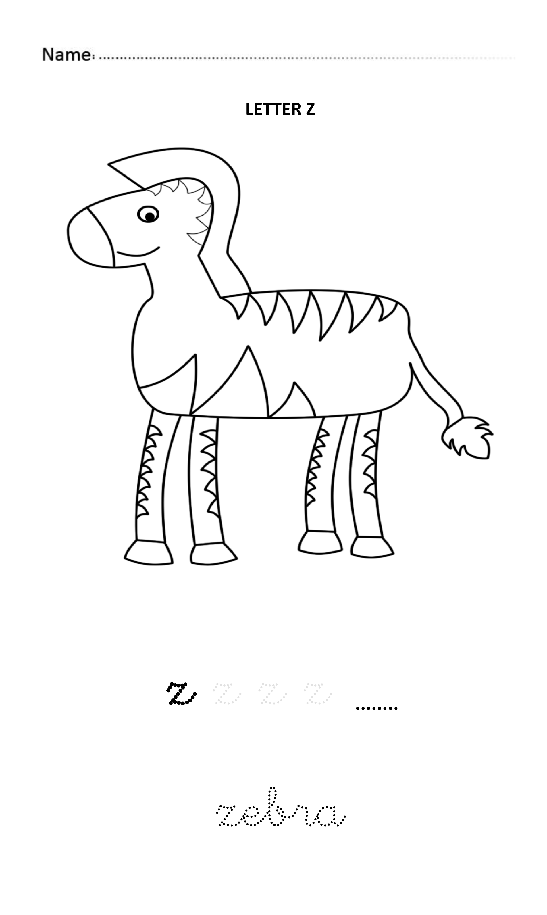 Letter Z Easy And Visual Colouring Worksheet For Early
