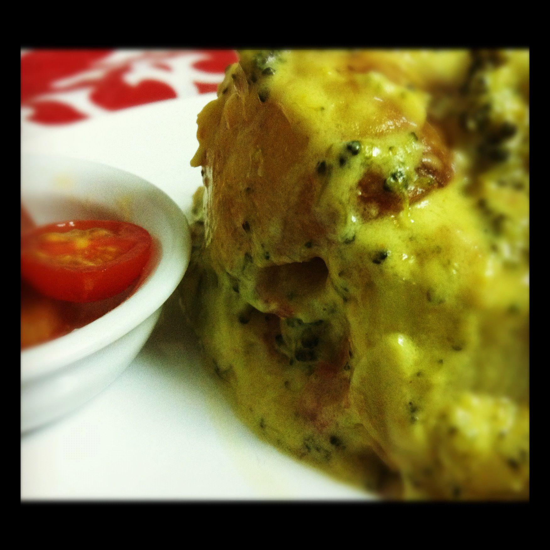 Guiso de patatas y brocoli en salsa de #queso al curry