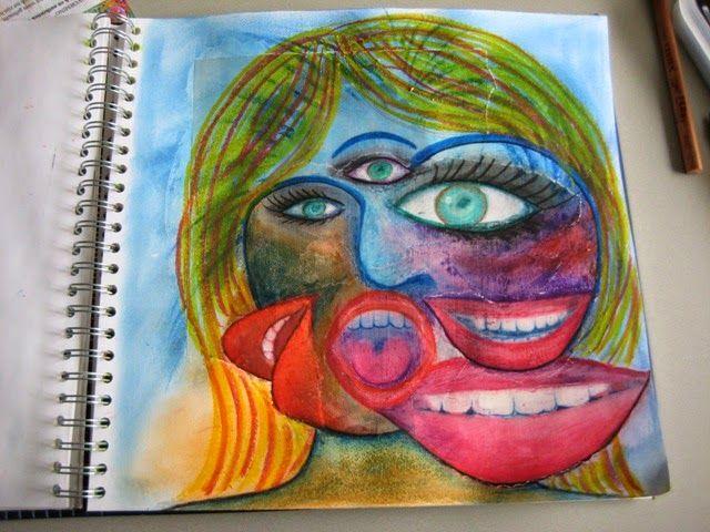 Krea d' IngeN Picasso portret aan de hand van tijdschrift foto's Stap voor stap