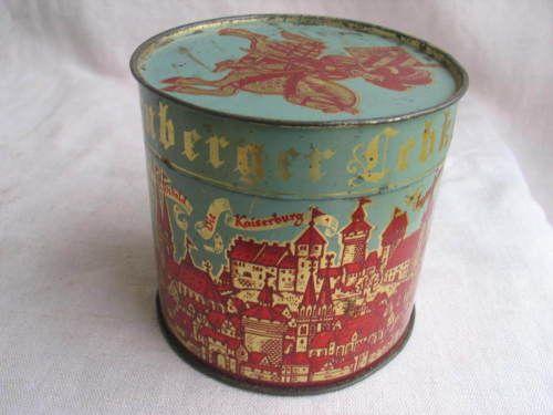 Alte Runde Blechdose Fuer 5 Stueck Feine Nuernberger Lebkuchen Stadtmotiv Coffee Cans Canning Tin