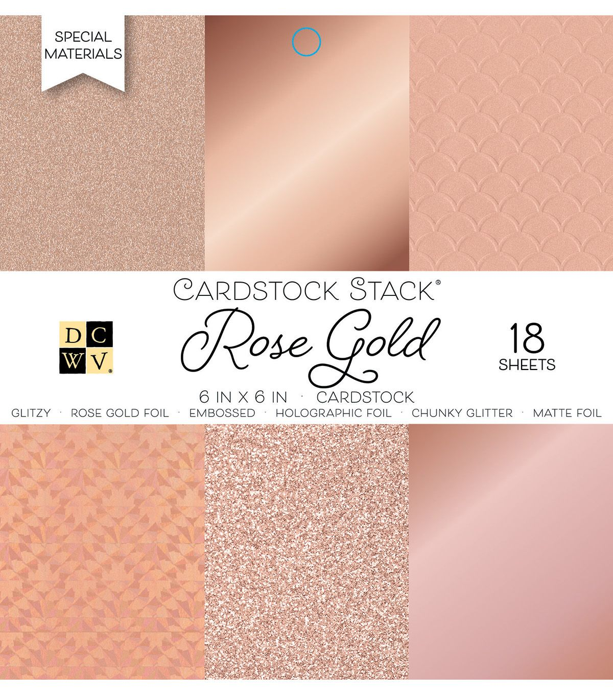 American Crafts 6 x 6 Inch Solid Rose Golds Glitter and Foil 18 Sheets Die Cuts with a View Mat Stacks 6 x 6