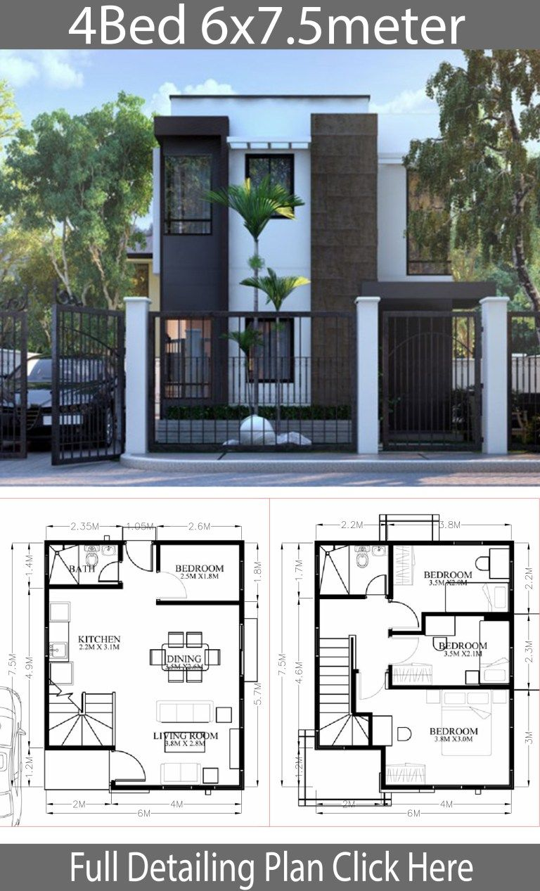 Small Home Design Plan 6x7 5m With 4 Bedrooms Home Ideas Small House Design Plans House Construction Plan Modern Small House Design