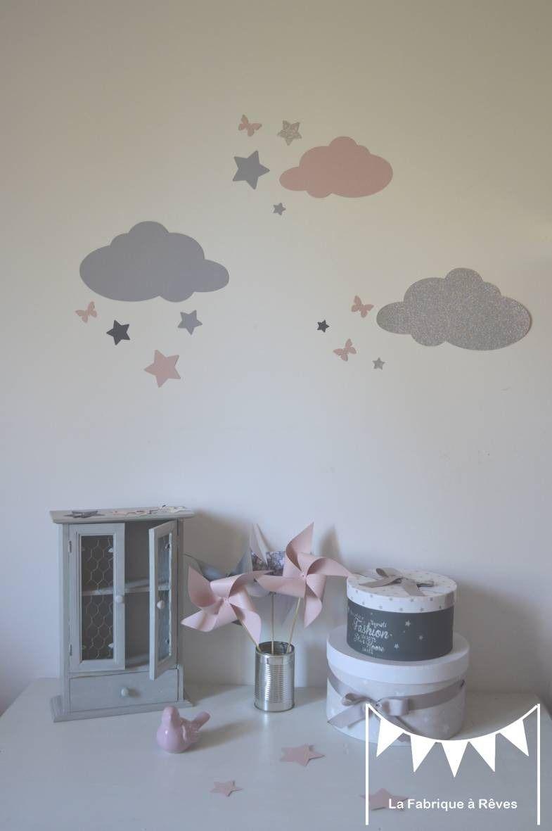 Stickers nuages et toiles rose poudr argent gris d coration chambre fille rose poudr argent - Stickers chambre bebe nuage ...
