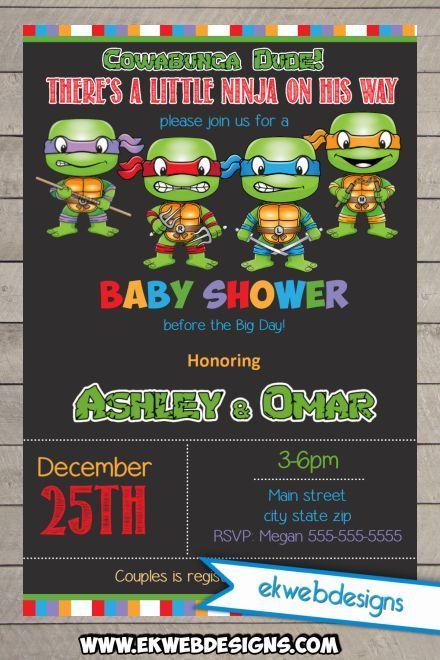 Custom Teenage Mutant Ninja Turtles Baby Shower Invitations