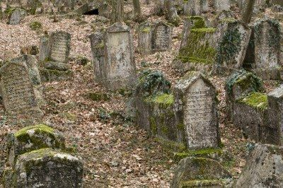 Ancient cemetery of dying people Karaites Stock Photo