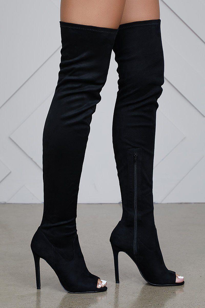 650da87b548 Lori Thigh High Peep Toe Boot (Black) in 2019 | Boots | Boots, Black ...