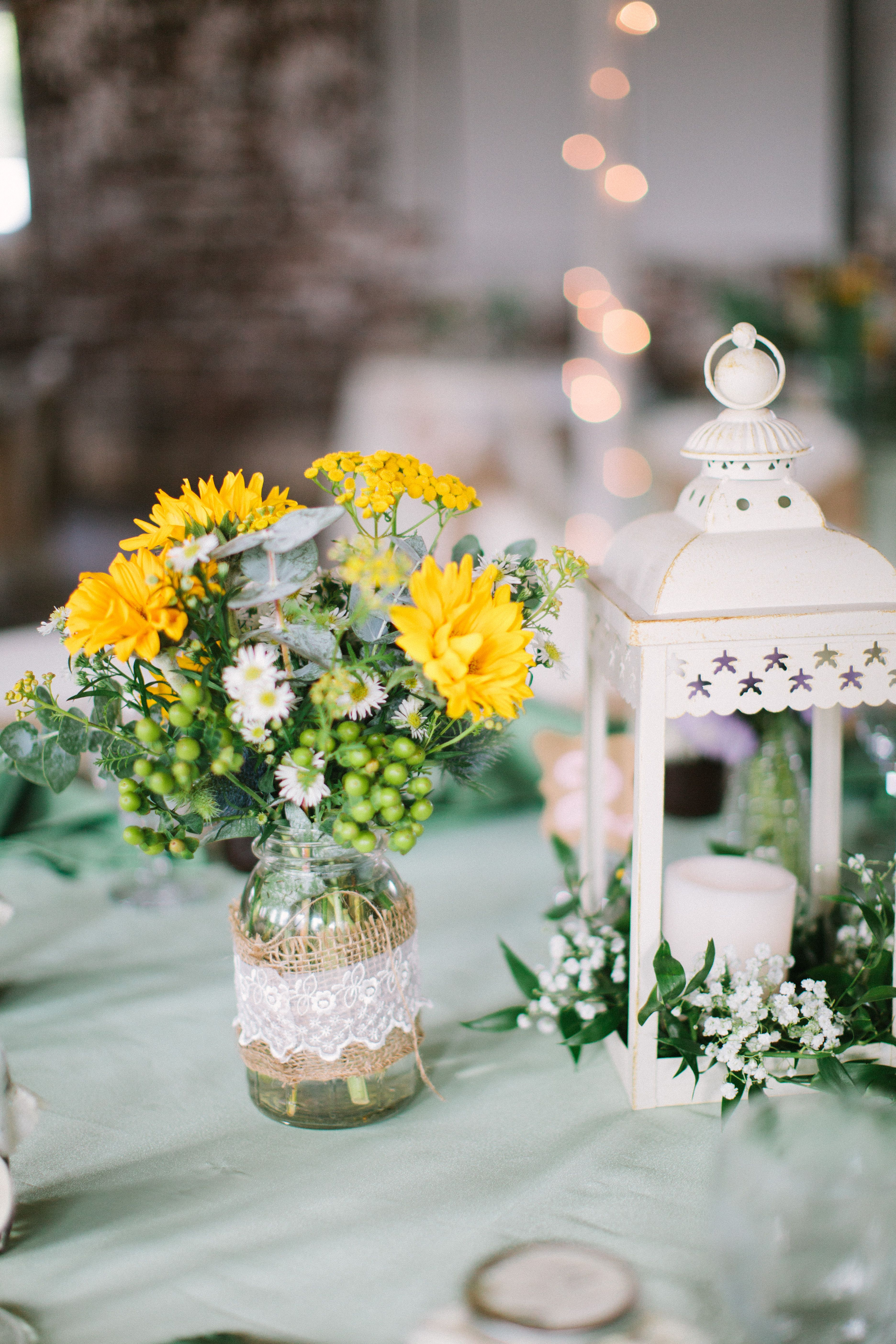 Country Centerpieces For Wedding Tables : Barn reception country wedding centerpieces are mason