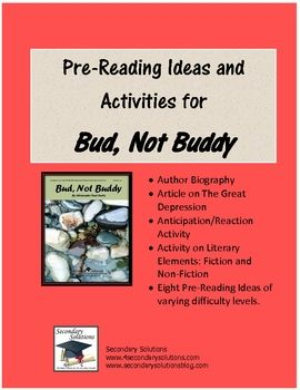 Common Core free printables for the novel Bud Not Buddy. Awesome ...