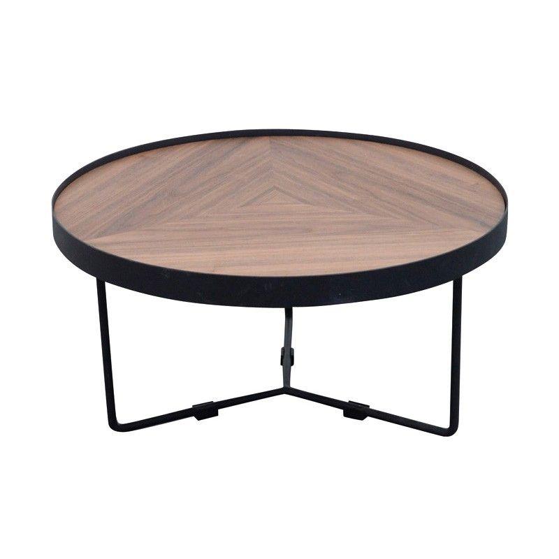 Luna Metal Round Nesting Coffee Table Small Black Walnut With