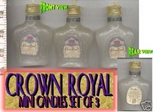 Second Silver - Crown Royal mini hitch hiker size bottle candles - 100% wax, box of 3