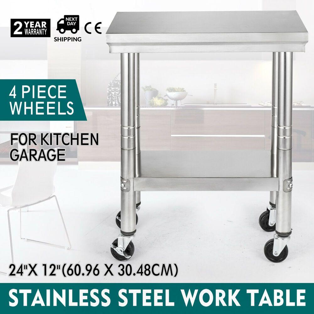 Ebay Sponsored 24 X12 Kitchen Stainless Steel Work Table Garage Food Prep Warehouse Good Stainless Steel Work Table Work Table Kitchen Work Tables