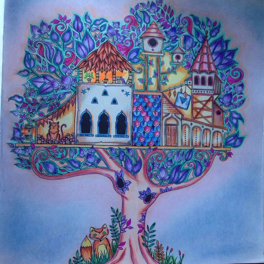 Enchanted Forest Tree House Johanna Basford My Coloring Pages