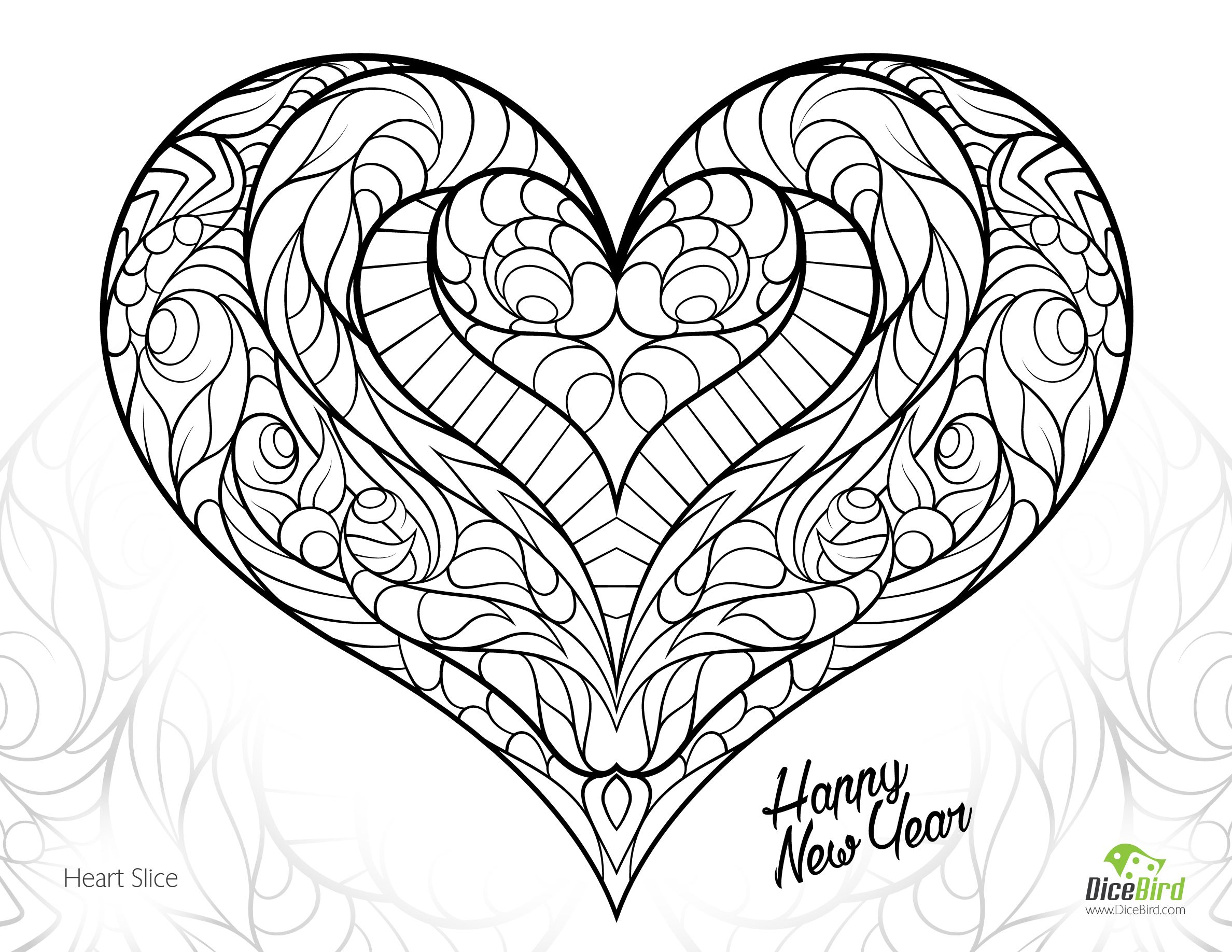 Heart Slice Free Adult Coloring Pages Printable Love Coloring