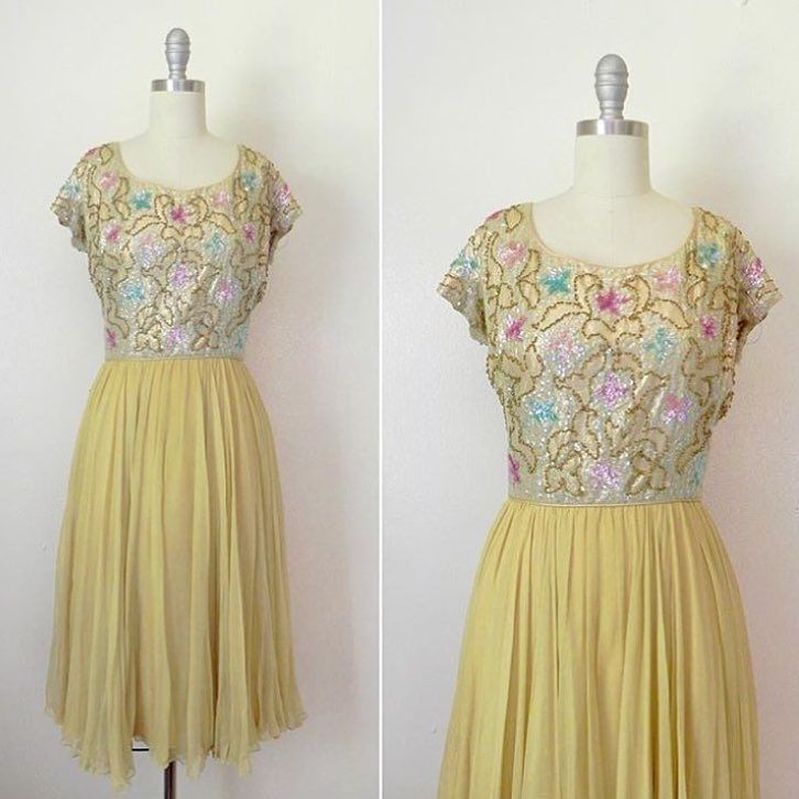 IN THE SHOP Vintage 1960s Gold Beaded Chiffon Dress. (36-38/28-30/free) http://ift.tt/1lP6fC1
