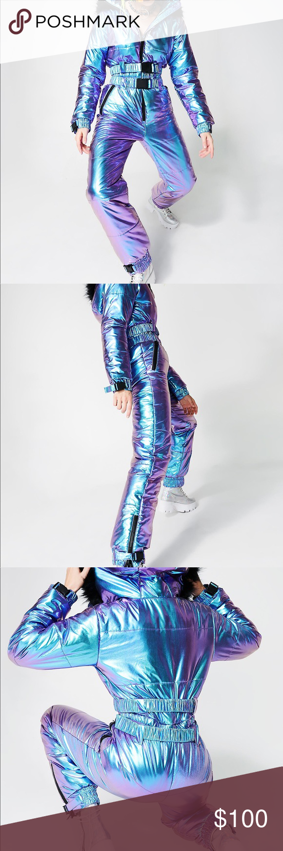 ecbb5a478 Club Exx snowsuit Club Exx Colder Than Your Heart Puffer One-Piece snow suit  will give 'em the chillz. This dope af iridescent jumpsuit has two buckles  at ...