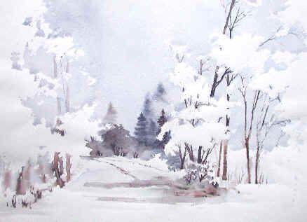 Aquarelle Winter Google Sok Aquarelle Paysage De Neige