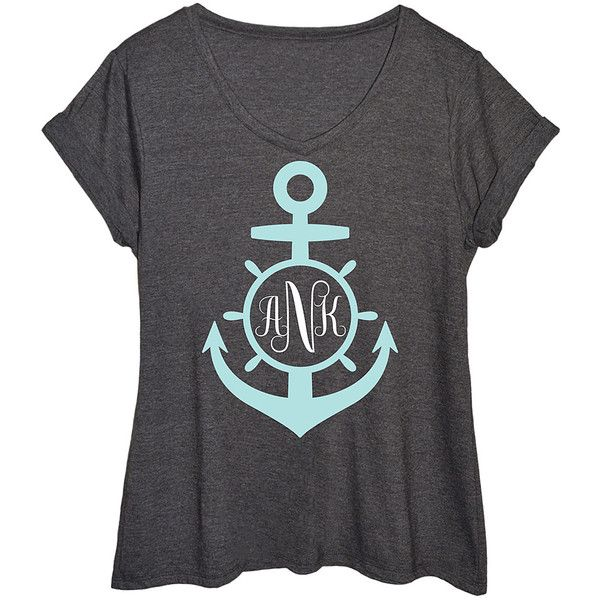 LC trendz Plus Heather Charcoal Monogram Anchor Tee ($25) ❤ liked on Polyvore featuring plus size women's fashion, plus size clothing, plus size tops, plus size t-shirts, plus size, heather t shirt, plus size graphic t shirts, charcoal grey t shirt and monogrammed anchor t shirt