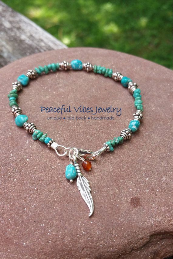 Natural Turquoise Sterling Silver Stacking by PeacefulVibesJewelry More