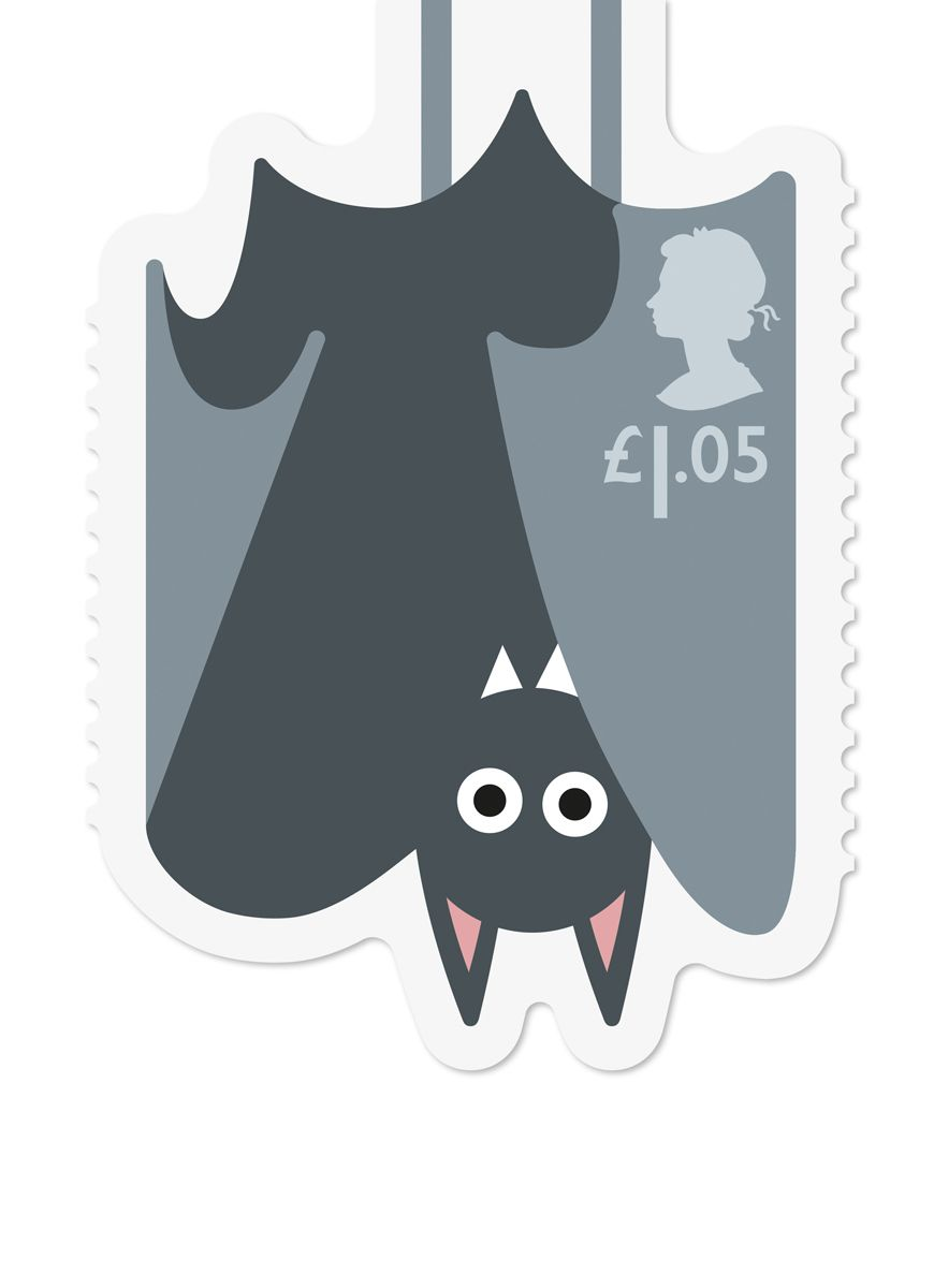 Osborne Ross has designed a range of Royal Mail stamps featuring illustrated animals hanging off the edges of envelopes