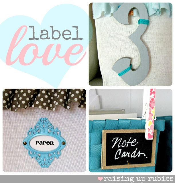 Raising up Rubies: some label love ... ♥ Amazing labels and organizational ideas.  This craft room is drool worthy