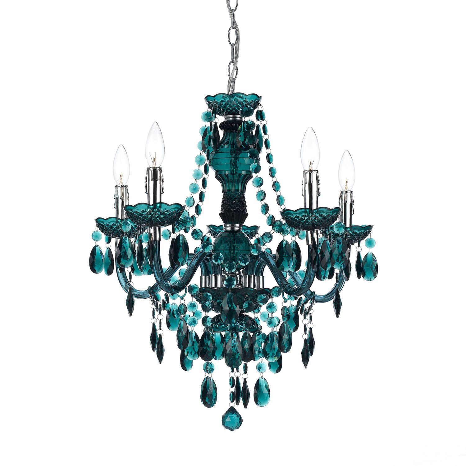 ing with three or five lights this teal chandelier is sure