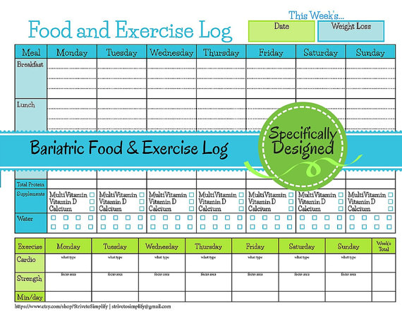 Bariatric Surgery Weekly Food Exercise Tracker Weigh Loss Journal