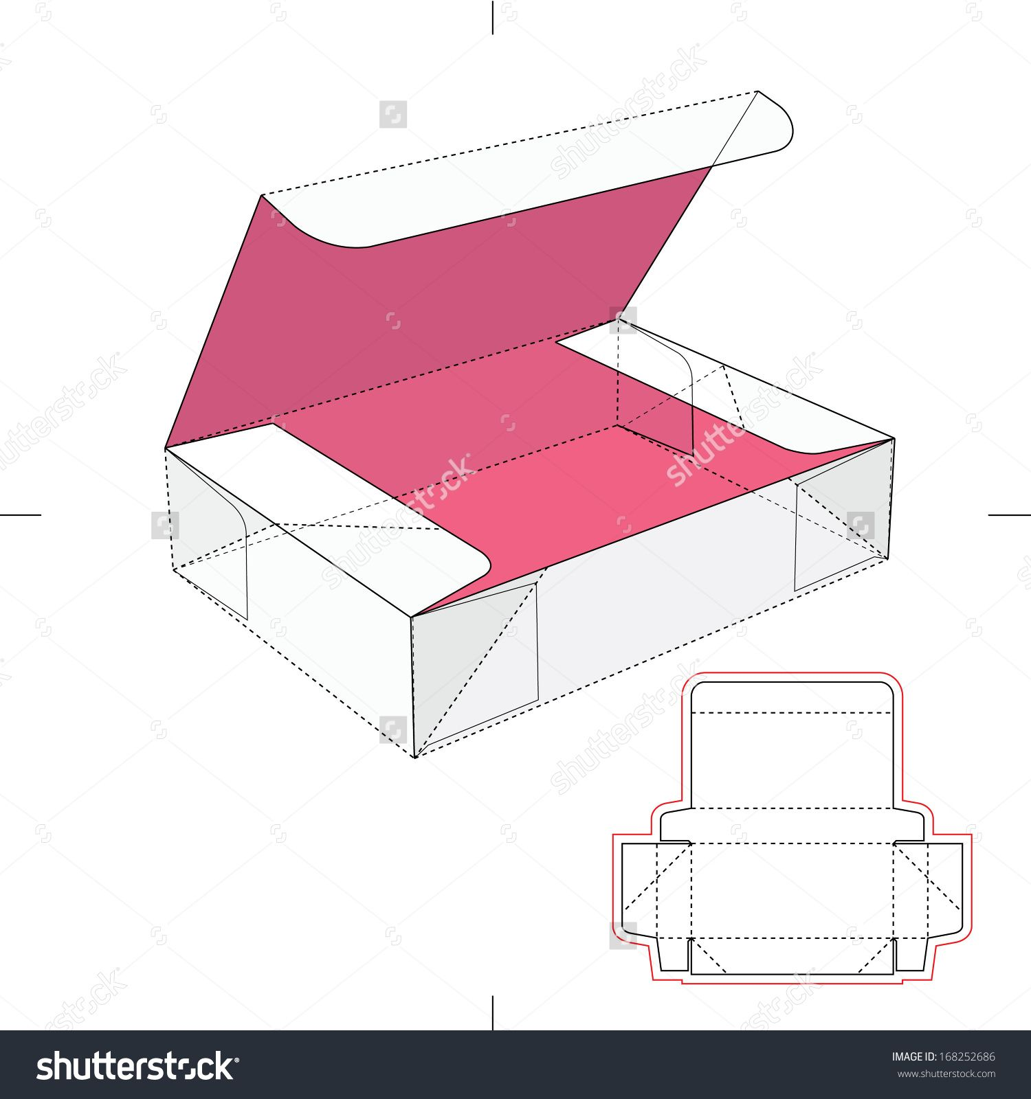 Box With Flip Lid And Blueprint Layout Gift Box Template Paper Box Template Box Design