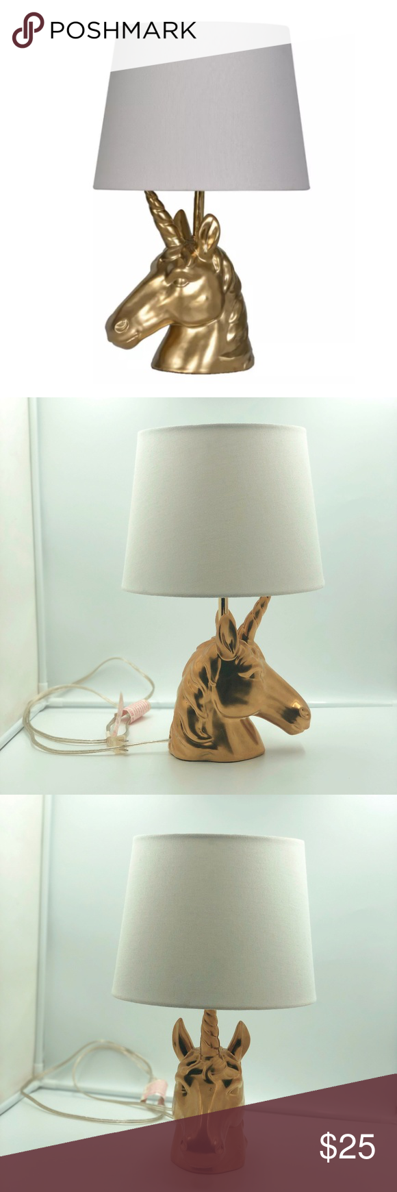 Pillowfort Gold Unicorn Table Lamp with Shade