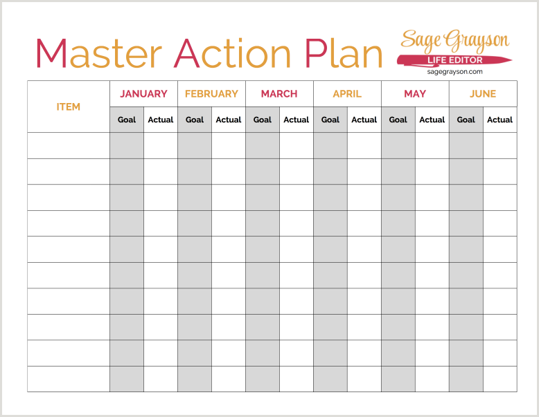 Reach Your Goals With A Map Master Action Plan  Free Printable