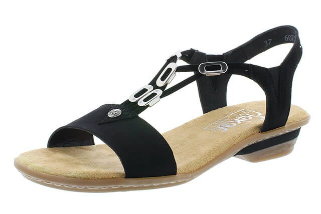 Rieker 63453 – 00 Black | Ladies Rieker | Black, Sandals, Silver